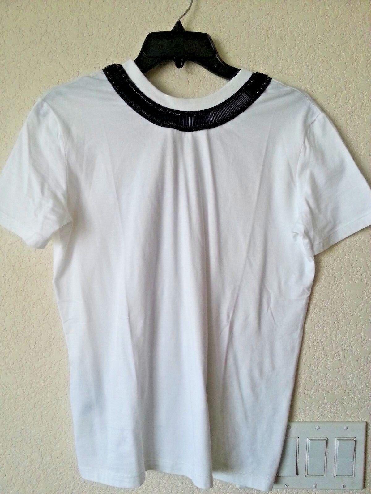 NEW Prada Weiß Cotton Top T-Shirt Embellished schwarz Beads Ribbon Sz S