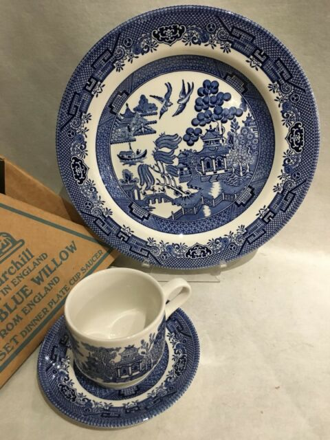 Churchill Blue Willow China Made In England 3 Piece Set Cup Saucer Plate