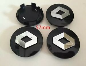 4 cache moyeu jante noir 57mm logo renault clio laguna megane scenic centre roue ebay. Black Bedroom Furniture Sets. Home Design Ideas