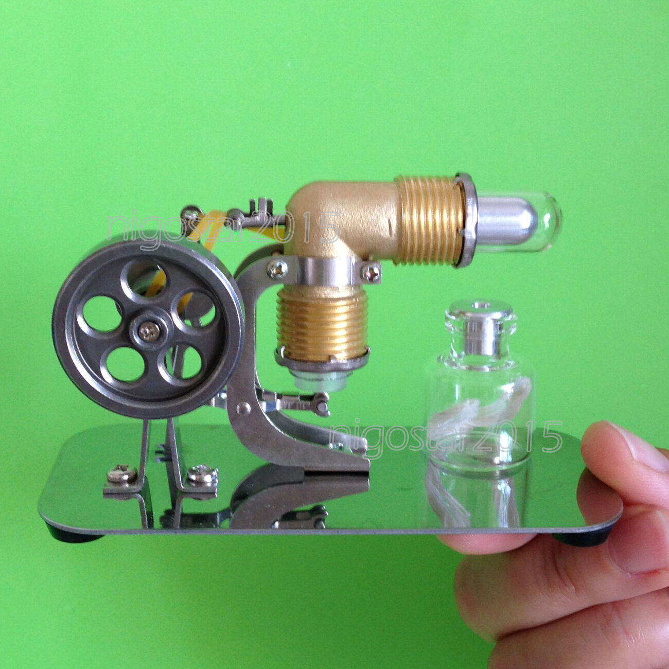 Mini Hot Air Stirling Engine Power Generator Model Physics Education V-Engine