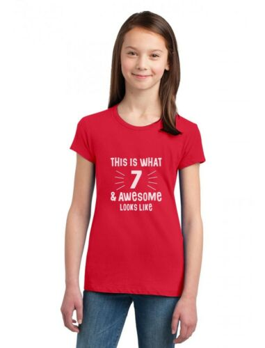 7 /& Awesome Looks Like Seven Year old Birthday Gift Girls/' Fitted Kids T-Shirt