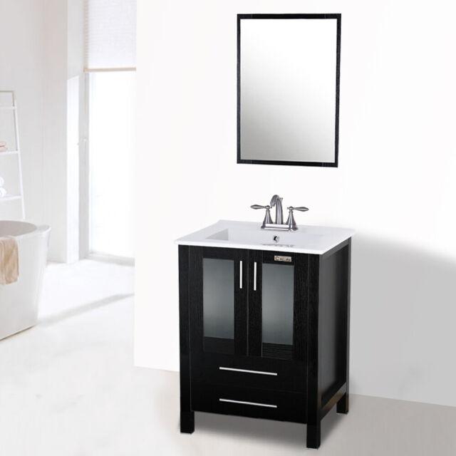 24 Black Bathroom Vanity Drop In 3 Hole Rectangle Sink Faucert Set Cabinet Mdf For Sale Online Ebay