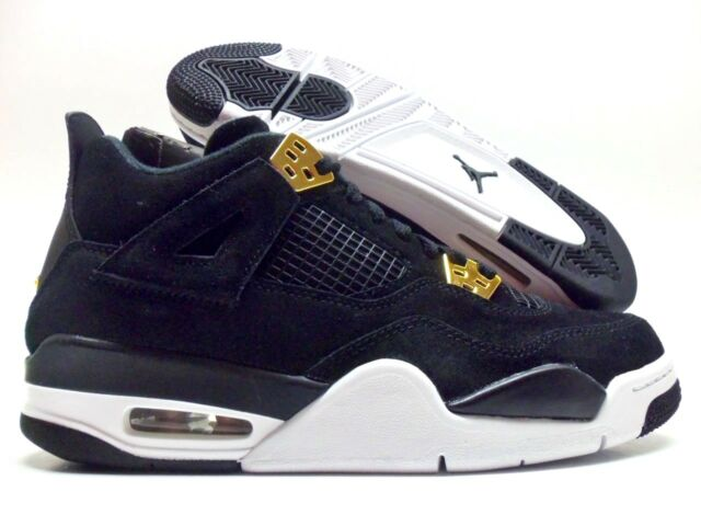 info for 2253d d13e9 NIKE AIR JORDAN 4 RETRO BG ROYALTY BLACK MET GOLD SIZE 6.5Y WOMEN