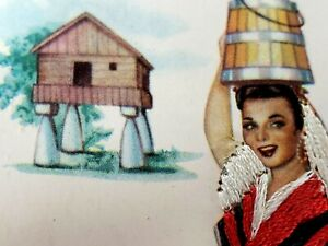 Postcard-Embroidered-signed-Elsi-Gumier-Galicia-Woman-in-Red-Dress-Apron-Shawl