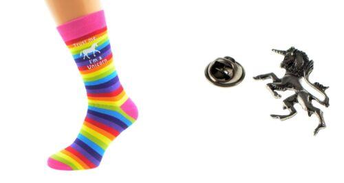 UNICORN Girls Ladies Christmas Xmas Rainbow Socks Lapel Pin Badge N549+XWTP072