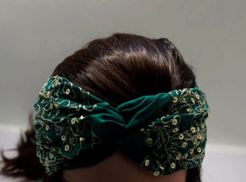 GREEN Gold Fabric Elastic Turban Twisted Embroidered Headband AC21A-6//22