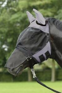 Fliegenmaske-Fly-Cover-Pro-Busse-Nuesternschutz-Augenschutz-engmaschig-mit-Fleece