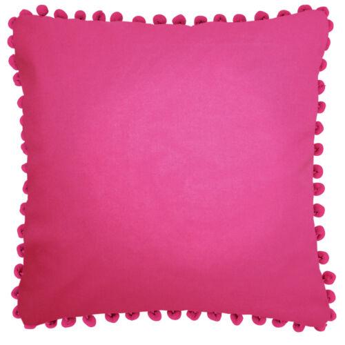 Ragged Rose Plain Cotton Pom Pom Cushion
