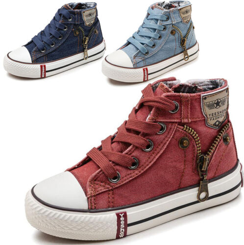 Hot Fashion Boys Girls Kids Canvas Shoes High Top Sneakers Casual Sports Shoes