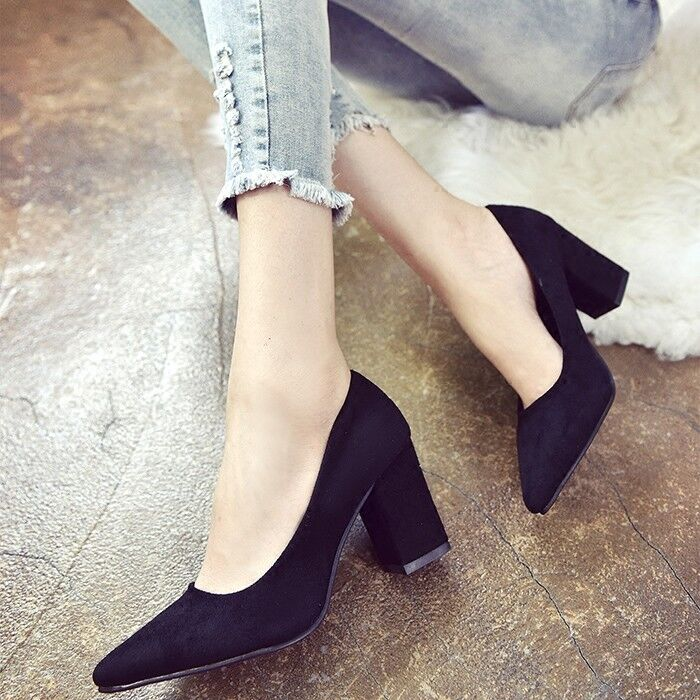 2018NEW Women's Suede Block High Heel Pointed Toe Pumps Office Smart Court shoes