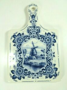 Delft-Blue-Hand-Painted-Ceramic-Wall-Plaque-Windmill-Dutch-Colonial-Decor