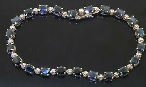 10K yellow gold 11.22CT diamond & Blue sapphire line bracelet