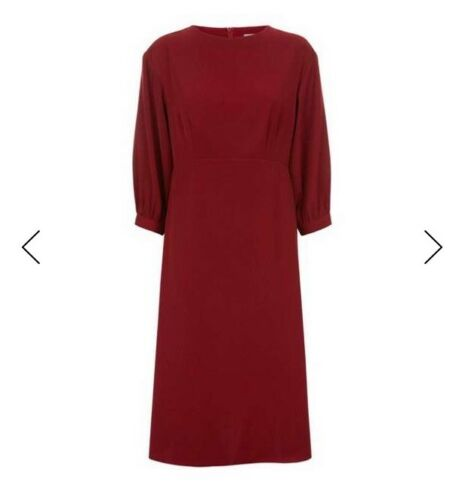 10 Red tag taglia Jaeger Dress Nuovo con Burgandy a1qX7P