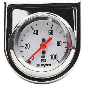 Sunpro Gauge, StyleLine, Oil Pressure, 0-100 psi, 2 in