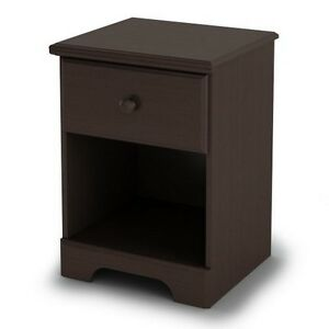 South Shore Summer Breeze 1-Drawer Nightstand, Chocolate
