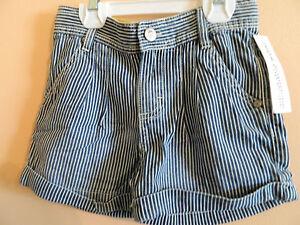 f87c66dbc NWT Oshkosh B gosh girl blue   white striped shorts w rolled cuffs ...
