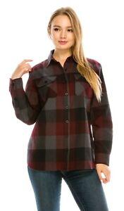 YAGO-Women-039-s-Plaid-Flannel-Button-Down-Casual-Shirt-Wine-Grey-5-S-2XL