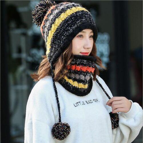 Femme Hiver Tricot Chapeau écharpe Fashion laine épaississement Colliers Chaud Bonnet Neuf