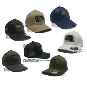 USA-American-Flexfit-Structured-Tactical-Cap-Military-Army-small-US-Flag-On-Side