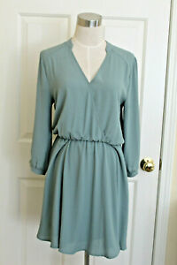 Miami-Women-Green-Dress-Surplice-Faux-Wrap-Size-Medium-Polyester-Runs-Small