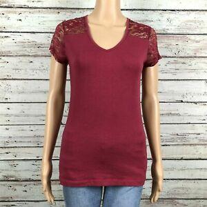 Wet Seal Sheer Lace Trim V-neck Shirt Top LARGE Juniors Maroon Burgundy Cotton