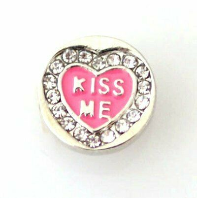 1 PC-12MM Pink Heart Kiss Me Enamel Silver Charm for  Snap Jewelry KB6648 CC0368