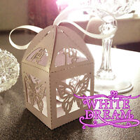 NEW - Butterfly Design - Quality Luxury Wedding Sweet Favour Boxes + Ribbon Ties