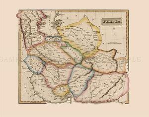 MAP-ANTIQUE-LUCAS-1814-GENERAL-ATLAS-PERSIA-LARGE-REPLICA-POSTER-PRINT-PAM1023