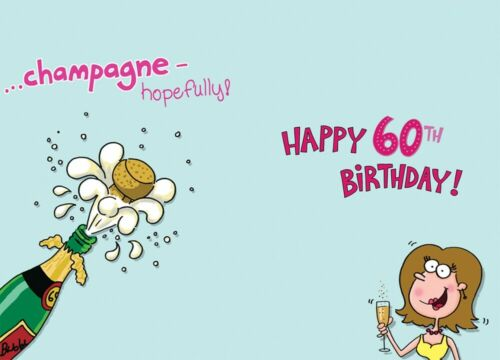9 x 6 Inches Large Fun 60th Female Birthday Greeting Card 60 Years Old Today