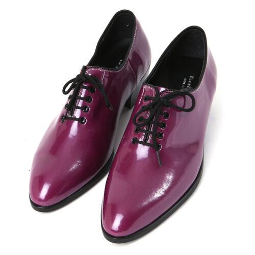 Men/'s glossy purple plain toe lace up dress shoes hand made KOREA US6-US10.5
