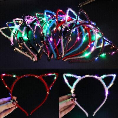 Am /_ Süße Katze Ohr Blinkende LED Licht Haarband Party Kopfband Haar Reifen
