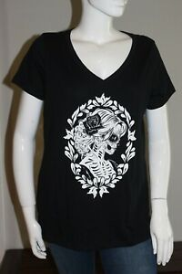 Torrid-Dia-De-Los-Muertos-Black-Tee-New-With-Tags-Size-1