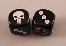 Punisher Skull BMX Dice Valve Caps - Black / White
