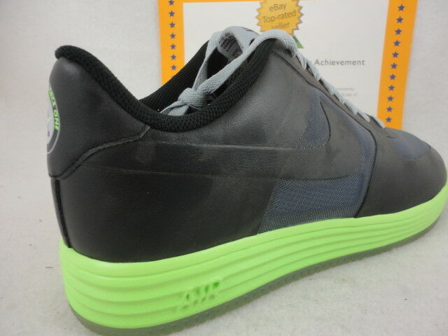 Nike Lunar Force 1 Fuse Leather, Black / Grey / Flash Lime, 599839 002, Size 13
