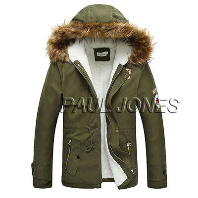 Men's Fur Winter Warm Padded Trench Coat Jacket Hooded Parka Overcoat Outerwear