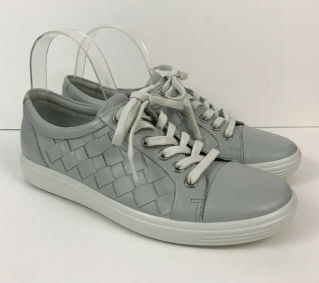 bab876302a ECCO Soft 7 Lace Up Shoes Womens 8 Leather Woven Tie Sneaker Concrete Gray  New