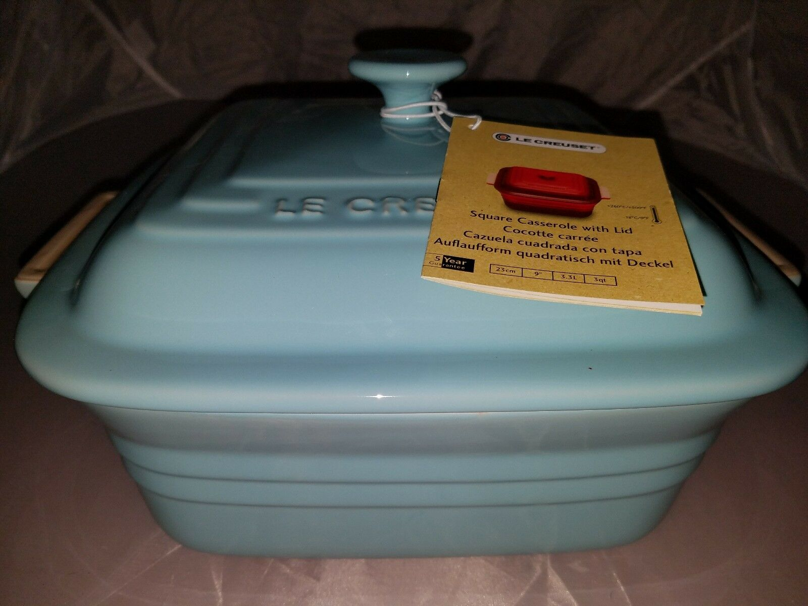 Le Creuset  Stoneware 3-Quart Square Casserole with Lid,  Light Coastal bluee
