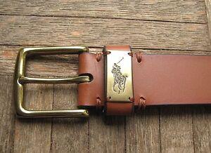 "Men's $75. POLO-RALPH LAUREN Brown Leather ""Pony Plaque"" Belt (34) (eur 85)"