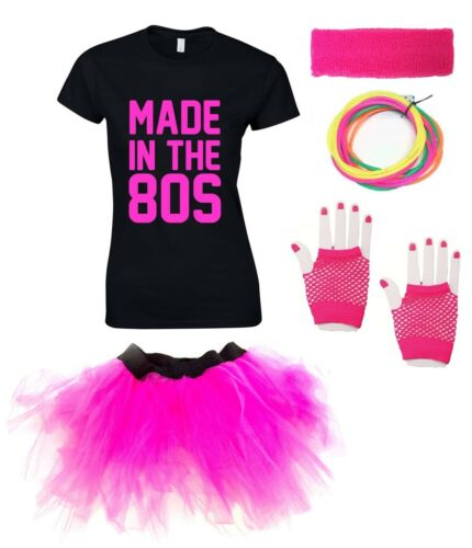 MADE IN THE 80s Ladies T-Shirt Outfit Fancy Dress Costume Neon Tutu 80/'s Gloves