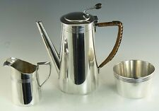 MAPPIN & WEBB Silver Plate - KEITH MURRAY Art Deco - 3 Piece Coffee Set