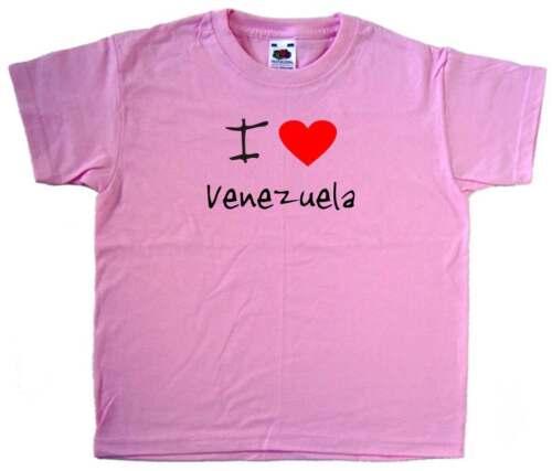 I Love Heart Venezuela Pink Kids T-Shirt