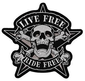 28-Live-Free-Ride-Biker-Totenkopf-Kutte-Backpatch-Rueckenaufnaeher-XXL-22-x-21-cm