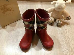 100-AUTHENTIC-Burberry-baby-Rubber-Rain-Boots-size-EUR-25-26