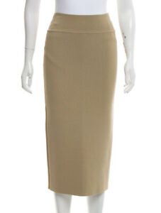 BNWT-SCANLAN-THEODORE-slit-back-crepe-knit-skirt-knee-tan-brown-pencil-work-M