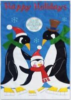 Winter Happy Holidays Penguin And Baby Penguin Family Mini Garden Flag