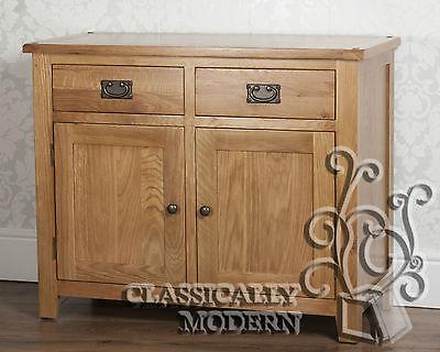 Solid Rustic Oak Cartmel 2 Door 2 Drawer Sideboard / Cabinet Furniture Free P&P