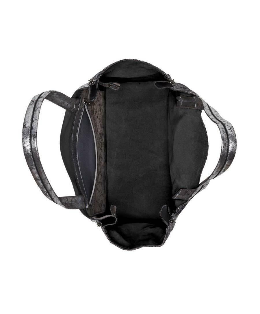 01ff6d7c0d1ed ... NEU LUA Handtasche Handtasche Handtasche Marken Duo Tasche grau silber  metallic Leo Print
