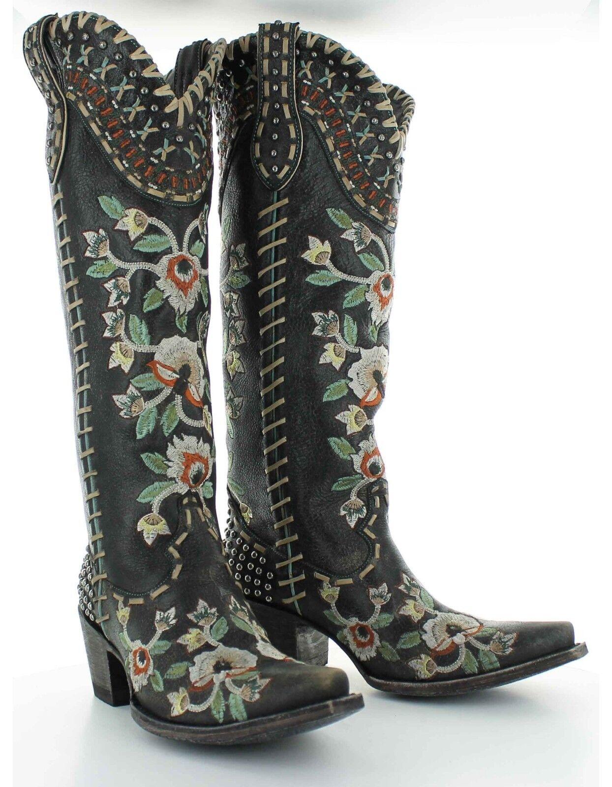 DDL026-2 doble D Ranch Almost Famous Negro Negro Negro Bordado Floral botas Altas  alta calidad y envío rápido
