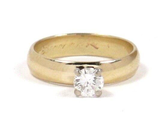 14k Yellow gold Round Diamond Solitaire Engagement Ring .45ct