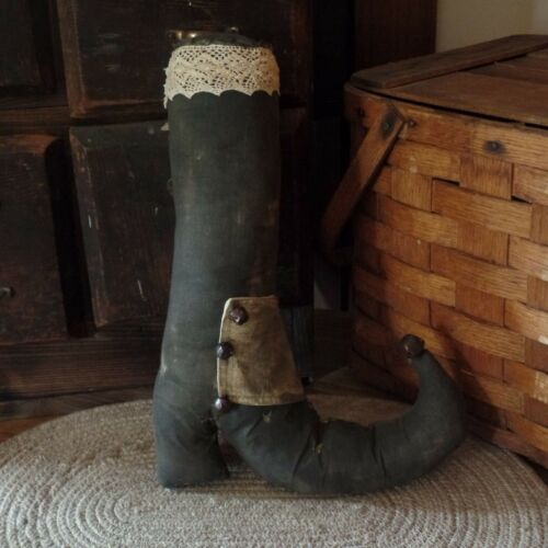 Primitive Witch Boot~Black~Grungy~Bells~Lace~